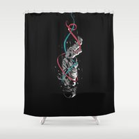 gravity Shower Curtains featuring Gravity by Luis Patino