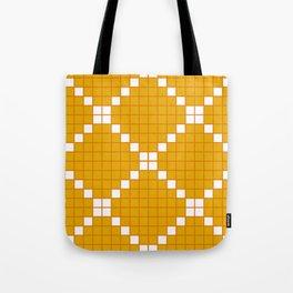 Gold and Orange Grid Crosstile Tote Bag