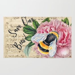 Save Our Bees Pink Peony Rug