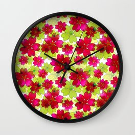 Floral red green pattern. Wall Clock