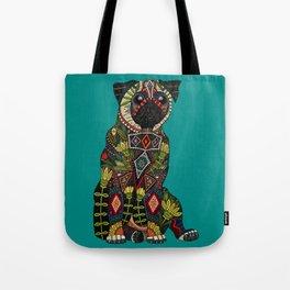 pug love teal Tote Bag