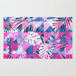 Abstract Hot Pink Geometric Tropical Design Rug