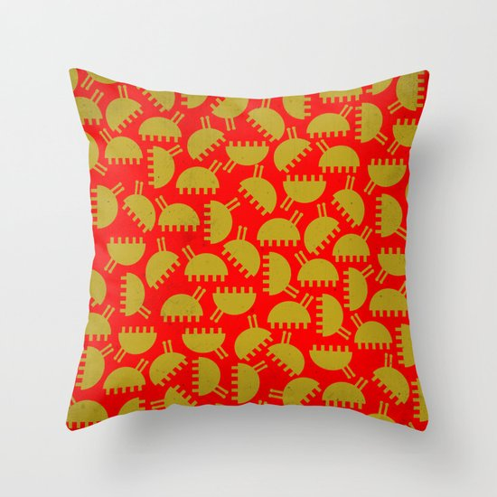 Happy green bugs on red. Throw Pillow