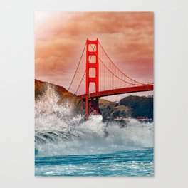 Waves over Red Bridge Canvas Print