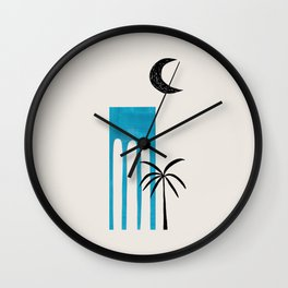 Teal Blue Ancient Ruin Minimalist Mid Century Modern Architecture Moon Lit Palm Tree by Ejaaz Haniff Wall Clock