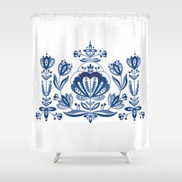 Nordic Blue Rose Shower Curtain