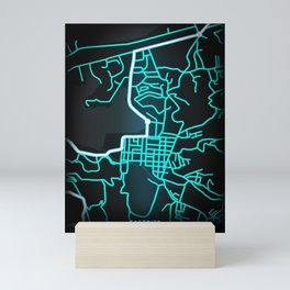 Castries, Saint Lucia, Blue, White, Neon, Glow, City, Map Mini Art Print