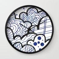 senna Wall Clocks featuring Clouds by Renata Senna