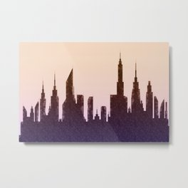 Modern City Buildings And Skyscrapers Sketch, New York Skyline, Wall Art Poster Decor, New York City Metal Print