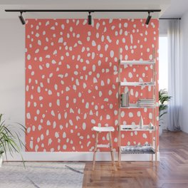 Living Coral - White Polka Dots, Spots Wall Mural