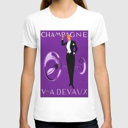 Vintage Champagne Purple Veuve A. Devaux, Paris, Jazz Age Roaring Twenties Advertisement Poster T-shirt