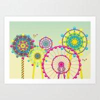 ferris wheel Art Prints featuring Ferris Wheel by Jing Zhang's illustrations