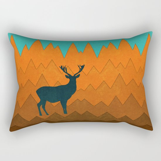 Deer silhouette in autumn Rectangular Pillow