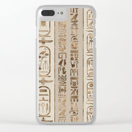 Egyptian hieroglyphs Pastel Gold Clear iPhone Case