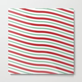 Red White and Green Christmas Candy Cane Pattern Metal Print