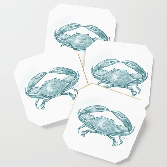Crab - Drawing Teal Coaster