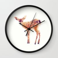 amy hamilton Wall Clocks featuring Fawn by Amy Hamilton