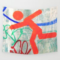 running Wall Tapestries featuring Running Man  by Ethna Gillespie