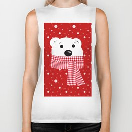 Muzzle of a polar bear on a red background. Biker Tank