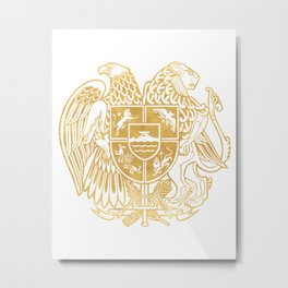 ARMENIAN COAT OF ARMS - Gold Metal Print