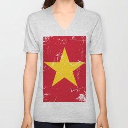 Vietnam Flag with Grunge effect Unisex V-Neck