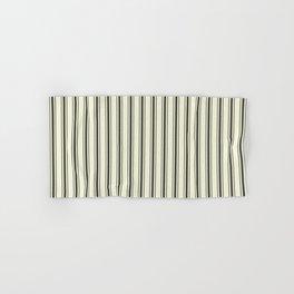 Mattress Ticking Wide Striped Pattern in Dark Black and Beige Hand & Bath Towel