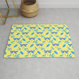 Pretty beautiful dragonflies, leaves elegant stylish bright sunny yellow spring nature happy pattern Rug
