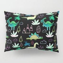 Dino Fun land Black Pillow Sham