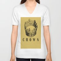 crown V-neck T-shirts featuring Crown by NYLONPISTOL