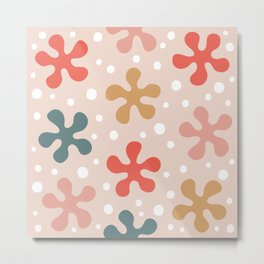 Pretty Mid Century Modern Floral Pattern 328 Metal Print