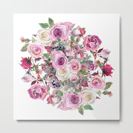 Bouquet of rose - wreath Metal Print