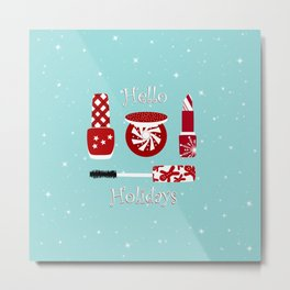 Super Cute Makeup Holiday Design Metal Print