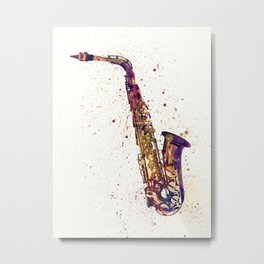 An abstract watercolor print of a Saxophone Metal Print