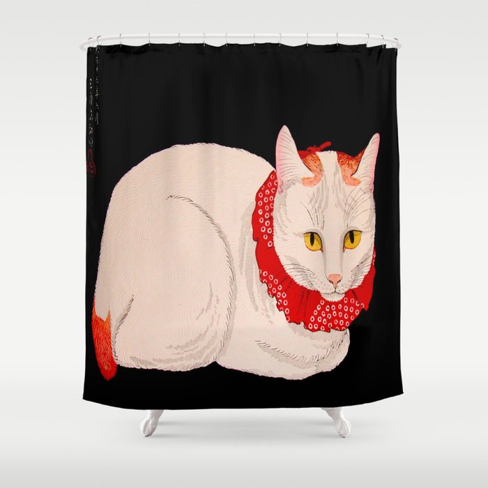 Shotei Takahashi White Cat In Red Outfit Black Background Vintage Japanese Woodblock Print Shower Curtain