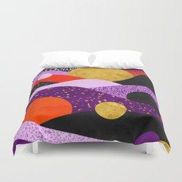 Terrazzo galaxy purple orange gold Duvet Cover