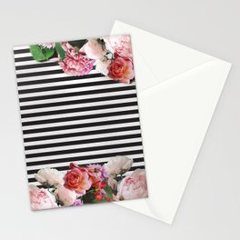stripes and flowers Stationery Cards