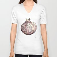 pomegranate V-neck T-shirts featuring Pomegranate by Ursula Rodgers