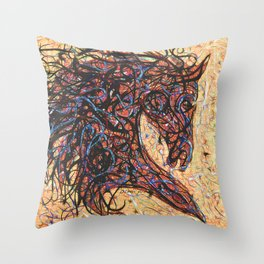 Abstract Horse Digital Ink Pollock Style Throw Pillow