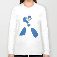 mega man Long Sleeve T-shirts featuring Mega Man - Minimalist - Nintendo by Adrian Mentus