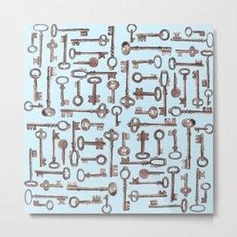 Vintage Keys-Blue Metal Print