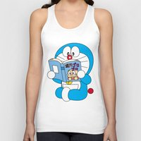 comic book Tank Tops featuring Doraemon Reading Comic Book by Timeless-Id