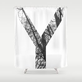 Minimal Letter Y Print With Photography Background Shower Curtain