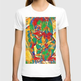 3334s-SRC Abstract Woman with Blue Eyes Rendered in Color and Style T-shirt