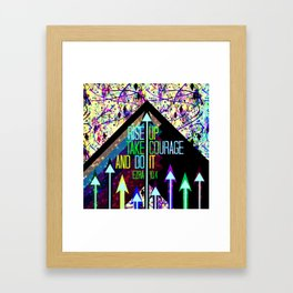 RISE UP TAKE COURAGE AND DO IT Colorful Geometric Floral Abstract Painting Christian Bible Scripture Framed Art Print