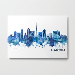 Harbin China Skyline Blue Metal Print