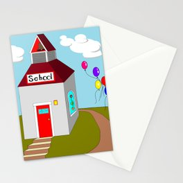 An Ole School House with Balloons Stationery Cards