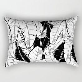Black & White Tropical Leaves Rectangular Pillow