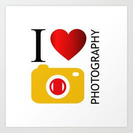I love photography- Photography lovers passion- yellow camera Art Print