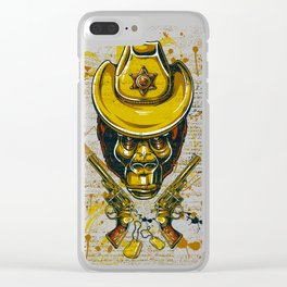 Monkey Cowboy Skull with Twin Guns Clear iPhone Case