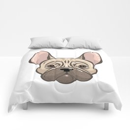 Cute french bulldog muzzle Comforters